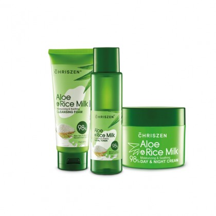 [BUNDLE] 98% Aloe Vera & Rice Milk Facial Medium Set
