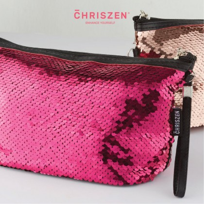 Glittering Make Up Bag - Dark Pink / Rose Gold