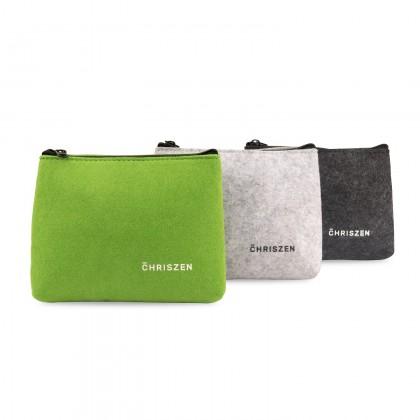 Chriszen Wool Felt Handy Cosmetic Pouch - 3 Colors Selection