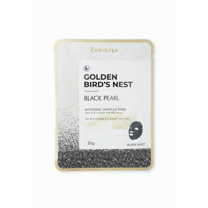 Chriszen Golden Bird's Nest & Black Pearl Whitening Ampoule Mask Black Sheet (30g)