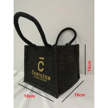 Mini Black Jute Bag